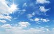 Leinwandbild Motiv White heap clouds in the blue sky.