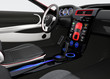 Futuristic electric vehicle dashboard and interior design.