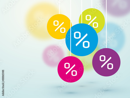 Fotografía  symbol percent discounts and blur icon on a background