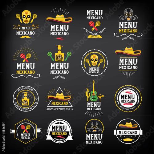 Fotografía  Menu mexican logo and badge design.