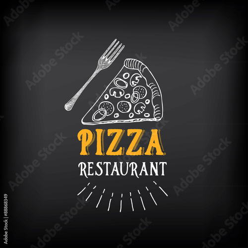 Pizza menu restaurant badges. Food design template. - 88868349