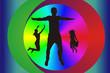 Парень и девушки в танце