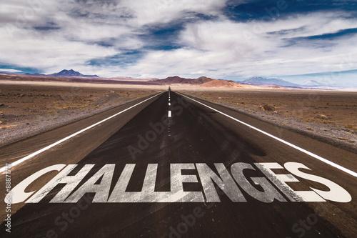 Fotografie, Obraz  Challenges written on desert road
