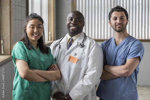 Fotografie, Obraz  Portrait of a proud Asian female nurse, Caucasian male nurse, and African Americ