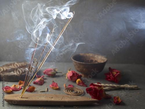 Foto auf AluDibond Buddha Incense stick. Aromatherapy