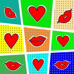 FototapetaLips and heart on a bright background. Vector illustration.