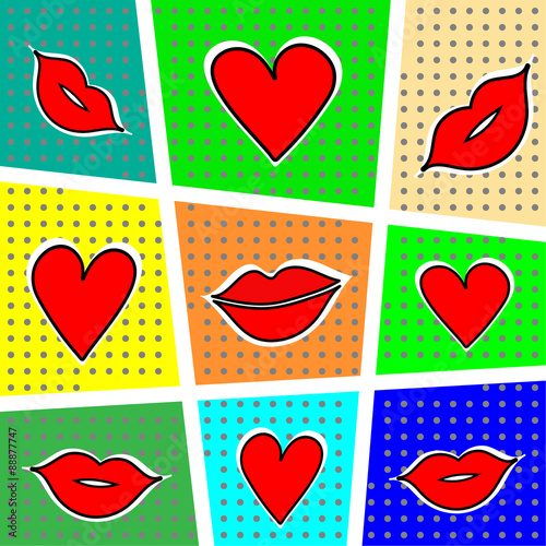 Lips and heart on a bright background. Vector illustration. - 88877747