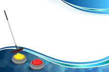 Background Abstract Curling Sport Blue Ice Red Yellow Stone Broom Frame Illustration Vector