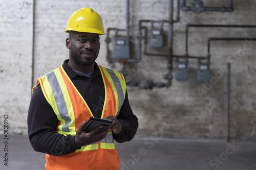Fotografie, Obraz  Portrét afro-americký Stavební dělník