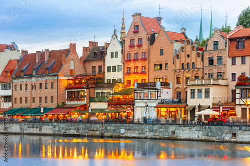 Fotografia  Old Town and Motlawa River in Gdansk, Poland