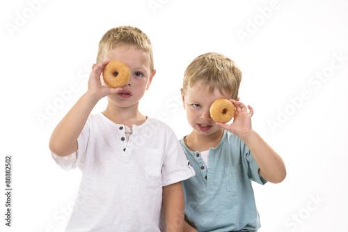 Photo Stands Grocery kinderen kijken door donut