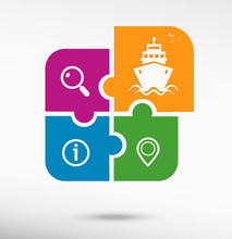 Ship Icon On Colorful Jigsaw Puzzle