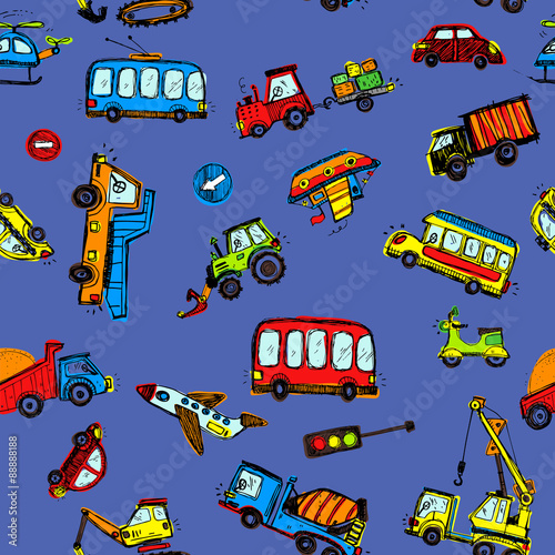 Poster Doodle Funny Cars. kids seamless pattern texture.