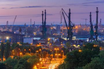 Panel Szklany Podświetlane Gdańsk Gdansk Shipyard at night, Poland