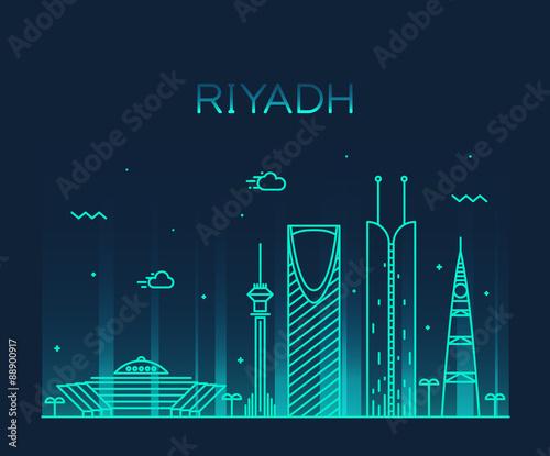 Photo  Riyadh skyline trendy vector illustration linear