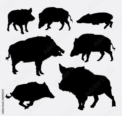 Wild boar silhouette Wallpaper Mural