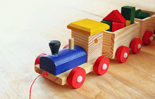 Close Up Of Wooden Toy Train O...