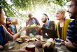 canvas print picture - Friends Friendship Outdoor Dining People Concept