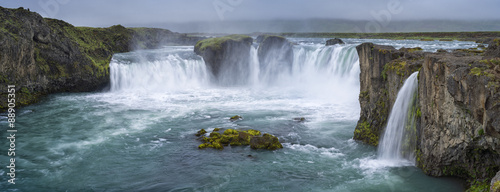 Spoed Foto op Canvas Watervallen panorama of waterfall with clouds in Iceland