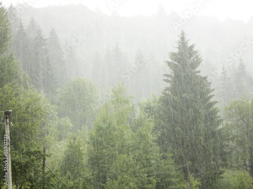 Printed kitchen splashbacks Khaki downpour in the mountains