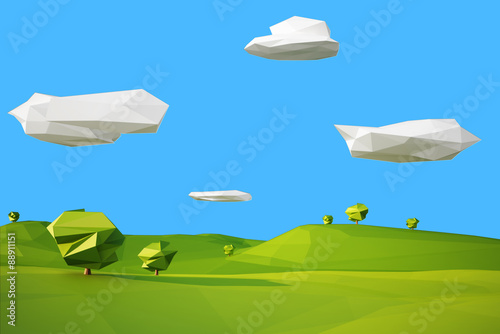 Photographie  low poly landscaped with lawn and trees