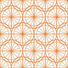 Seamless Pattern: Orange Circles And Lines