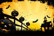 Leinwandbild Motiv Grungy Halloween background with house pumpkins and bats