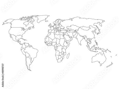Fototapeta World map with country borders obraz