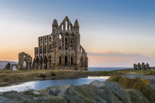 Stone Ruins Of Whitby Abbey On...