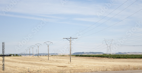 Electricity transmission towers in Spain Canvas Print