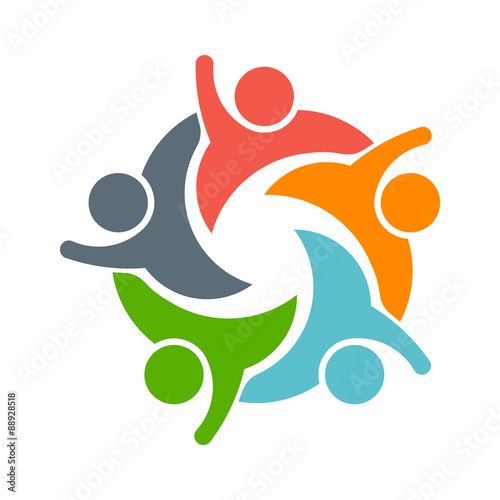 Fotografía  Teamwork People logo. Image of five persons
