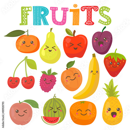 Photo  Cute kawaii smiling fruits. Healthy style collection