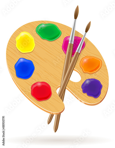 palette for paints and brush vector illustration Fototapeta
