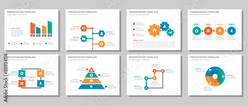 Fotografie, Obraz  4 color Multipurpose presentation template flat design set