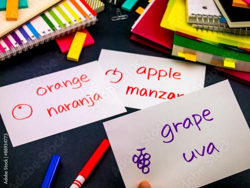Foto  Learning New Language Making Original Flash Cards; Spanish