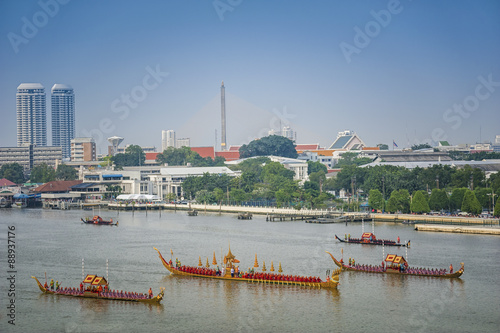 Landscape of Thai's king palace with goldent guard ship on the front Wallpaper Mural