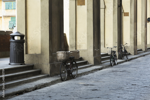 Aluminium Prints Old abandoned buildings Bikes on the streets of Firenze (Florence)