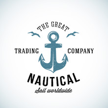 Simple Anchor Retro Logo Template For Any Kind Of Marine