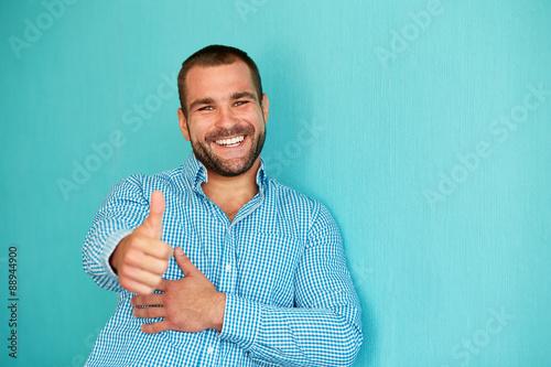 Fototapeta Happy man with thumb up obraz