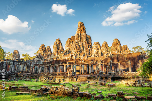 Main view of ancient Bayon temple in Angkor Thom, Cambodia Wallpaper Mural