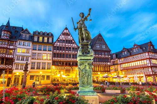 Poster Brugge Town square romerberg Frankfurt Germany