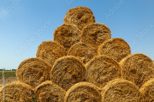 haystack, hay, background, rural, field, farm, summer, wheat, agriculture Wallpaper Mural
