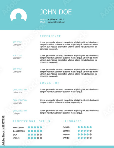 Professional clean styled resume template design with a teal header ...