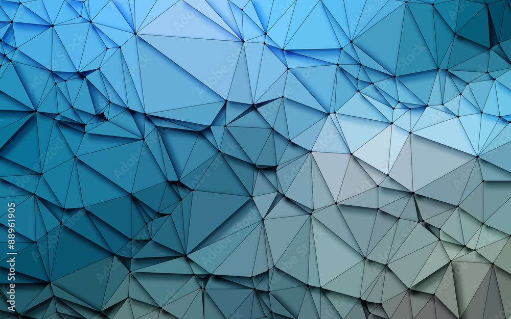 Fototapeta Abstract 3D Simple geometric  nature tone origami Blue sequins  background