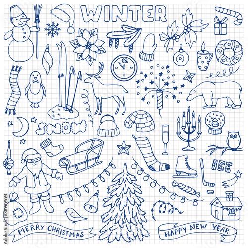 In de dag Boho Stijl Winter hand drawn doodle set