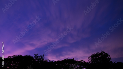 Poster Violet sky clouds twilight background