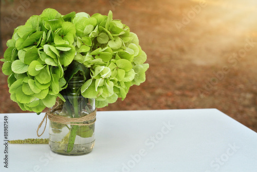 Tuinposter Hydrangea Green hydrangea bouquet. Autumn wedding flower decoration