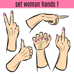 Set of woman hands in various gestures. Vector illustrations.
