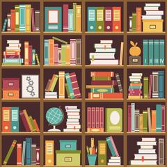 Bookshelf with books. Seamless background