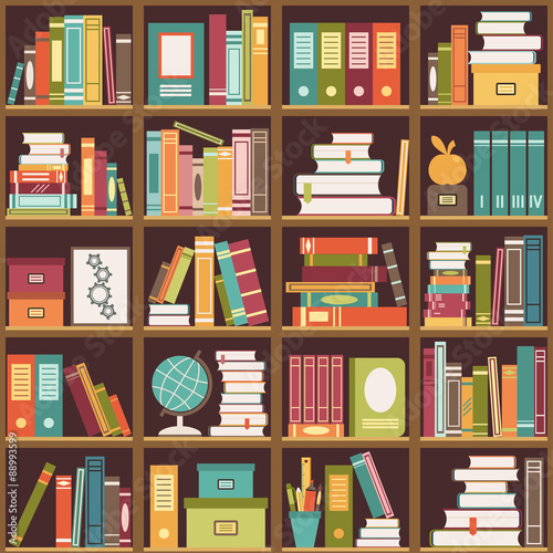 Fotografía  Bookshelf with books. Seamless background